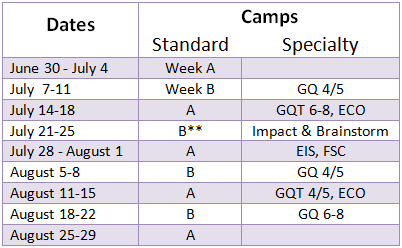 Camp Schedule Table BETTER